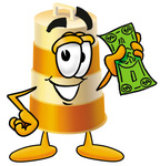 Clip art Graphic of a Construction Road Safety Barrel Cartoon Character Holding a Dollar Bill