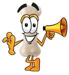 Clip art Graphic of a Bone Cartoon Character Holding a Megaphone