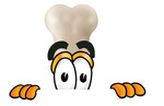 Clip art Graphic of a Bone Cartoon Character Peeking Over a Surface