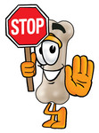 Clip art Graphic of a Bone Cartoon Character Holding a Stop Sign