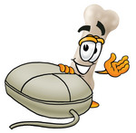 Clip art Graphic of a Bone Cartoon Character With a Computer Mouse