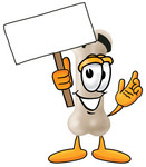 Clip art Graphic of a Bone Cartoon Character Holding a Blank Sign