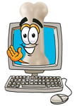 Clip art Graphic of a Bone Cartoon Character Waving From Inside a Computer Screen