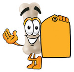 Clip art Graphic of a Bone Cartoon Character Holding a Yellow Sales Price Tag