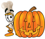 Clip art Graphic of a Bone Cartoon Character With a Carved Halloween Pumpkin