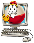 Clip art Graphic of a Fishing Bobber Cartoon Character Waving From Inside a Computer Screen
