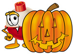 Clip art Graphic of a Fishing Bobber Cartoon Character With a Carved Halloween Pumpkin