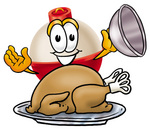 Clip art Graphic of a Fishing Bobber Cartoon Character Serving a Thanksgiving Turkey on a Platter