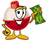 Clip art Graphic of a Fishing Bobber Cartoon Character Holding a Dollar Bill