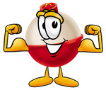 Clip art Graphic of a Fishing Bobber Cartoon Character Flexing His Arm Muscles