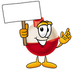 Clip art Graphic of a Fishing Bobber Cartoon Character Holding a Blank Sign