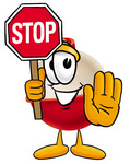Clip art Graphic of a Fishing Bobber Cartoon Character Holding a Stop Sign
