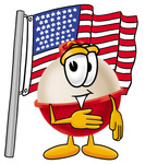 Clip art Graphic of a Fishing Bobber Cartoon Character Pledging Allegiance to an American Flag