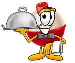 Clip art Graphic of a Fishing Bobber Cartoon Character Dressed as a Waiter and Holding a Serving Platter
