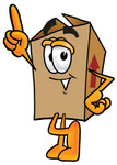 Clip Art Graphic of a Cardboard Shipping Box Cartoon Character Pointing Upwards