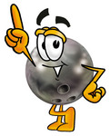 Clip Art Graphic of a Bowling Ball Cartoon Character Pointing Upwards