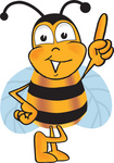 Clip art Graphic of a Honey Bee Cartoon Character Pointing Upwards