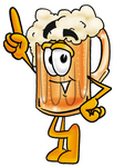 Clip art Graphic of a Frothy Mug of Beer or Soda Cartoon Character Pointing Upwards