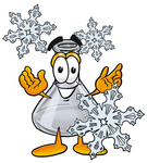 Clip art Graphic of a Beaker Laboratory Flask Cartoon Character With Three Snowflakes in Winter