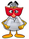 Clip art Graphic of a Beaker Laboratory Flask Cartoon Character Wearing a Red Mask Over His Face