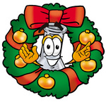Clip art Graphic of a Beaker Laboratory Flask Cartoon Character in the Center of a Christmas Wreath