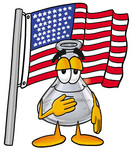 Clip art Graphic of a Beaker Laboratory Flask Cartoon Character Pledging Allegiance to an American Flag