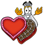 Clip art Graphic of a Beaker Laboratory Flask Cartoon Character With an Open Box of Valentines Day Chocolate Candies
