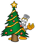 Clip art Graphic of a Beaker Laboratory Flask Cartoon Character Waving and Standing by a Decorated Christmas Tree