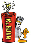 Clip art Graphic of a Beaker Laboratory Flask Cartoon Character Standing With a Lit Stick of Dynamite