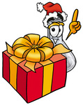 Clip art Graphic of a Beaker Laboratory Flask Cartoon Character Standing by a Christmas Present