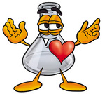 Clip art Graphic of a Beaker Laboratory Flask Cartoon Character With His Heart Beating Out of His Chest