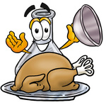 Clip art Graphic of a Beaker Laboratory Flask Cartoon Character Serving a Thanksgiving Turkey on a Platter
