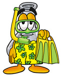 Clip art Graphic of a Beaker Laboratory Flask Cartoon Character in Green and Yellow Snorkel Gear