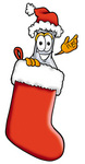Clip art Graphic of a Beaker Laboratory Flask Cartoon Character Wearing a Santa Hat Inside a Red Christmas Stocking