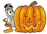 Clip art Graphic of a Beaker Laboratory Flask Cartoon Character With a Carved Halloween Pumpkin