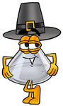 Clip art Graphic of a Beaker Laboratory Flask Cartoon Character Wearing a Pilgrim Hat on Thanksgiving