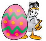 Clip art Graphic of a Beaker Laboratory Flask Cartoon Character Standing Beside an Easter Egg