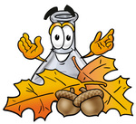 Clip art Graphic of a Beaker Laboratory Flask Cartoon Character With Autumn Leaves and Acorns in the Fall