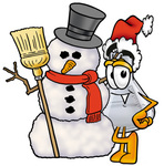 Clip art Graphic of a Beaker Laboratory Flask Cartoon Character With a Snowman on Christmas