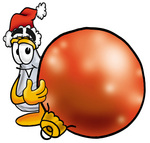 Clip art Graphic of a Beaker Laboratory Flask Cartoon Character Wearing a Santa Hat, Standing With a Christmas Bauble