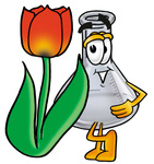 Clip art Graphic of a Beaker Laboratory Flask Cartoon Character With a Red Tulip Flower in the Spring