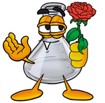 Clip art Graphic of a Beaker Laboratory Flask Cartoon Character Holding a Red Rose on Valentines Day