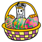 Clip art Graphic of a Beaker Laboratory Flask Cartoon Character in an Easter Basket Full of Decorated Easter Eggs