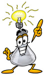 Clip art Graphic of a Laboratory Flask Beaker Cartoon Character With a Bright Idea