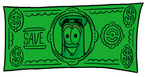 Clip art Graphic of a Laboratory Flask Beaker Cartoon Character on a Dollar Bill