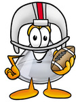 Clip art Graphic of a Laboratory Flask Beaker Cartoon Character in a Helmet, Holding a Football