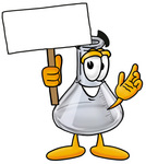 Clip art Graphic of a Laboratory Flask Beaker Cartoon Character Holding a Blank Sign