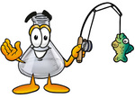 Clip art Graphic of a Laboratory Flask Beaker Cartoon Character Holding a Fish on a Fishing Pole