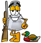 Clip art Graphic of a Laboratory Flask Beaker Cartoon Character Duck Hunting, Standing With a Rifle and Duck