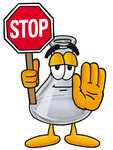 Clip art Graphic of a Laboratory Flask Beaker Cartoon Character Holding a Stop Sign